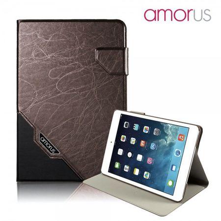 iPad Mini 1/2/3 Amorus Schickes Leder Smart Case mit Wake-Up Funktion - weinrot