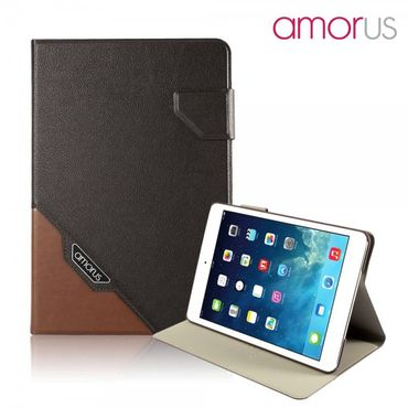 iPad Mini 1/2/3 Amorus Schickes Leder Smart Case mit Wake-Up Funktion - kaffeefarben