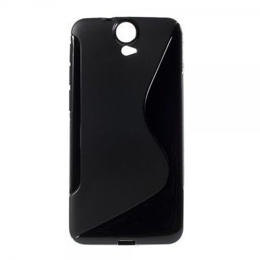 HTC One E9 Plus Elastisches Plastik Case S-Shape - schwarz