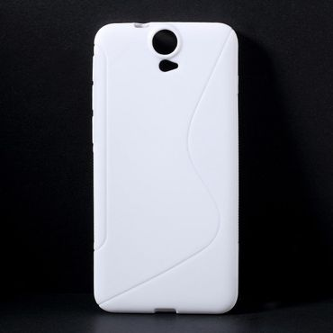 HTC One E9 Plus Elastisches Plastik Case S-Shape - weiss