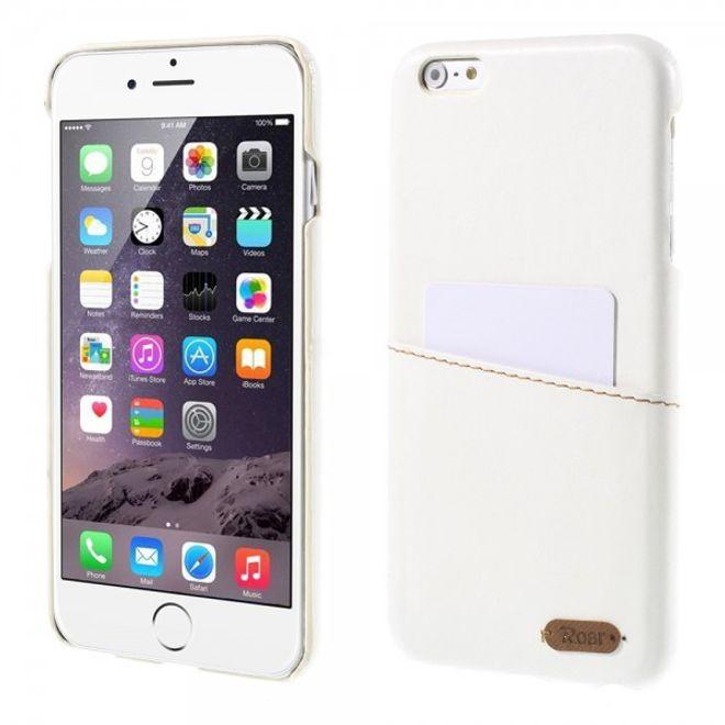 Roar iPhone 6 Plus/6S Plus Roar Korea Hart Plastik Case mit Lederüberzug und Kreditkartenslot - weiss