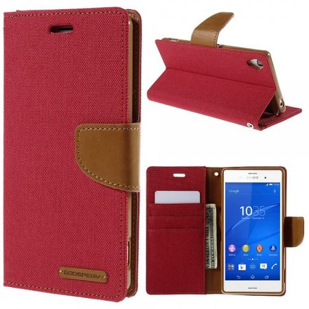 Mercury Goospery - Sony Xperia Z3 Hülle - Handy Bookcover - Canvas Diary Series - rot/camel