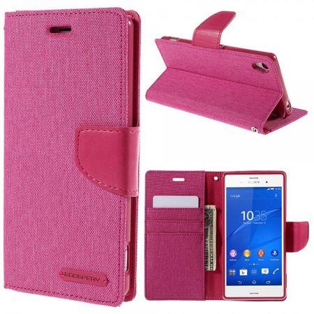 Sony Xperia Z3 Mercury Goospery Stoffartiges Leder Case - rosa