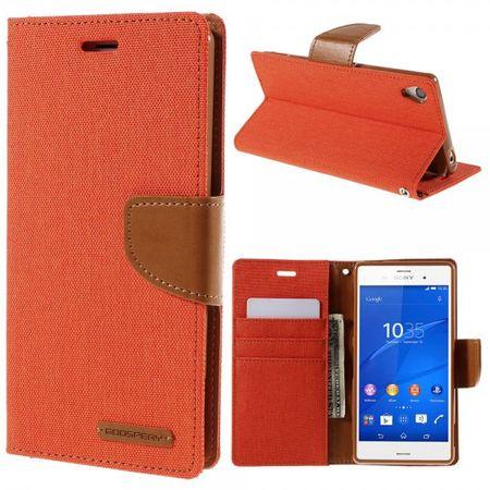 Sony Xperia Z3 Mercury Goospery Stoffartiges Leder Case - orange