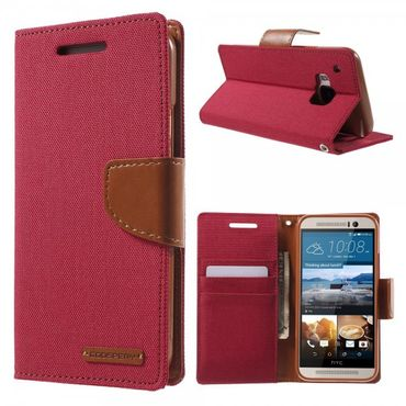 HTC One (M9) Mercury Goospery Stoffartiges Leder Case - rot
