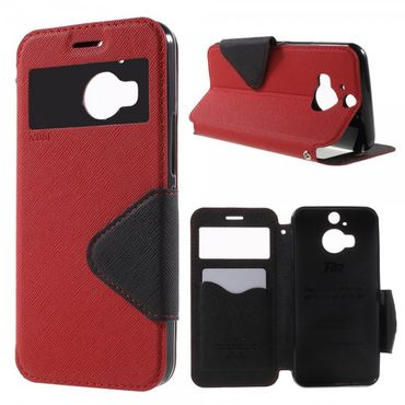 HTC One M9 Plus Roar Korea Diary View Leder Case mit kleinem Fenster - rot