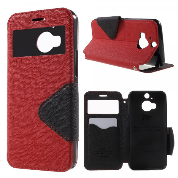 Roar HTC One M9 Plus Roar Korea Diary View Leder Case mit kleinem Fenster - rot