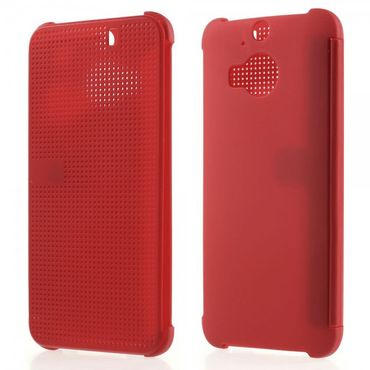 HTC One M9 Plus Silikon und Plastik Dot View Flip Case - rot