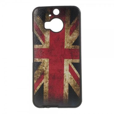 HTC One M9 Plus Elastisches Plastik Case mit UK Flagge retro-style