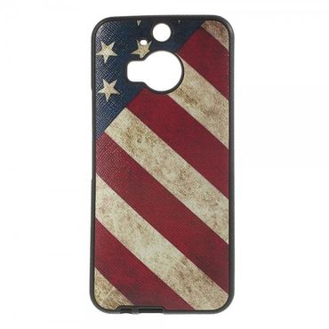 HTC One M9 Plus Elastisches Plastik Case mit USA Flagge retro-style