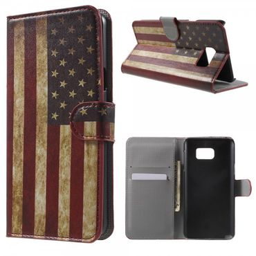 Samsung Galaxy Note 5 Leder Case mit USA Flagge retro-style