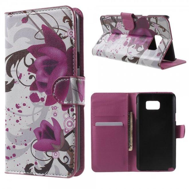 Samsung Galaxy Note 5 Leder Case mit Lotus Blumen
