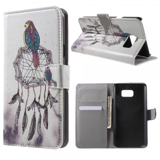 Samsung Galaxy Note 5 Leder Case mit Vogel und Traumfänger