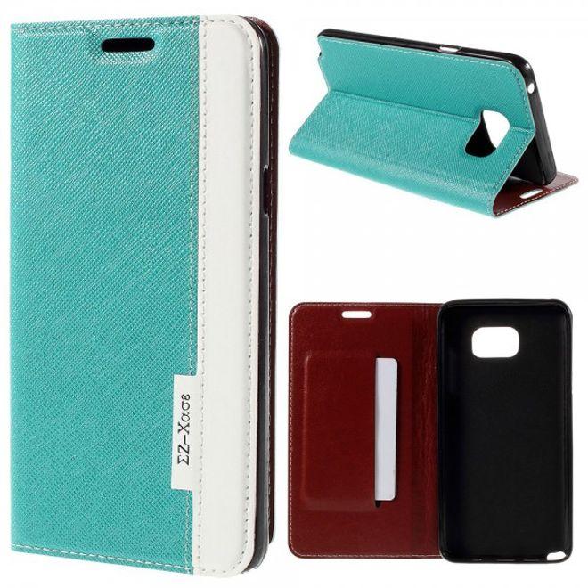 Samsung Galaxy Note 5 Kontrastreiches Leder Case - blau