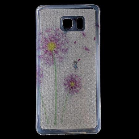 Samsung Galaxy Note 5 Elastisches, leicht glänzendes Plastik Case mit purpurnem Löwenzahn
