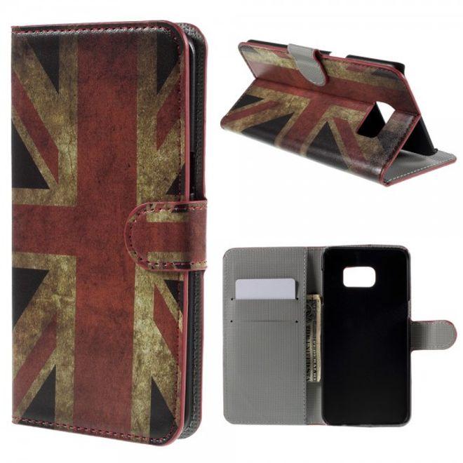 Samsung Galaxy S6 Edge Plus Leder Case mit UK Flagge retro-style