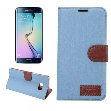 Samsung Galaxy S6 Edge Plus Leder Case im Jeans Look - hellblau