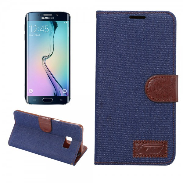 Samsung Galaxy S6 Edge Plus Leder Case im Jeans Look - dunkelblau