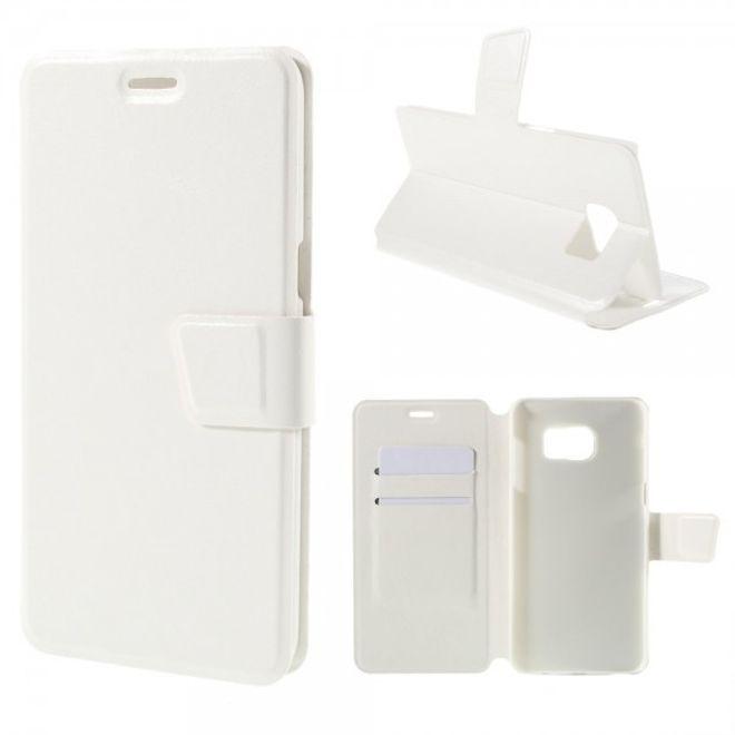Samsung Galaxy S6 Edge Plus Trendiges Crazy Horse Leder Case mit Standfunktion - weiss