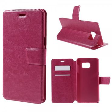 Samsung Galaxy S6 Edge Plus Trendiges Crazy Horse Leder Case mit Standfunktion - rosa