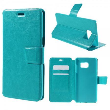 Samsung Galaxy S6 Edge Plus Trendiges Crazy Horse Leder Case mit Standfunktion - blau