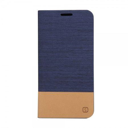 Samsung Galaxy S6 Edge Plus Zweifarbiges, stoffartiges Leder Case - dunkelblau