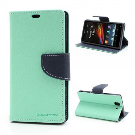 Mercury Goospery - Sony Xperia Z Hülle - Handy Bookcover - Fancy Diary Series - mint/navy