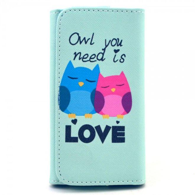 MU Style Universelles Leder Case für Smartphones bis 13.8x7x1.5cm mit verliebten Eulen und Schriftzug