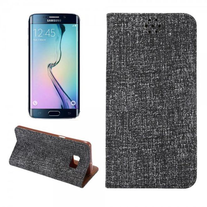 Samsung Galaxy S6 Edge Plus Leder Case mit Oxford Nylon Textur und Standfunktion - schwarz