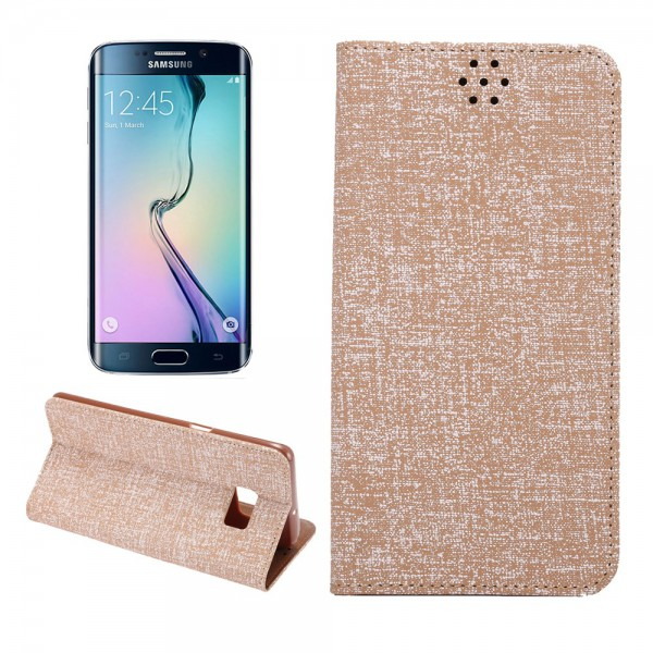 Samsung Galaxy S6 Edge Plus Leder Case mit Oxford Nylon Textur und Standfunktion - braun