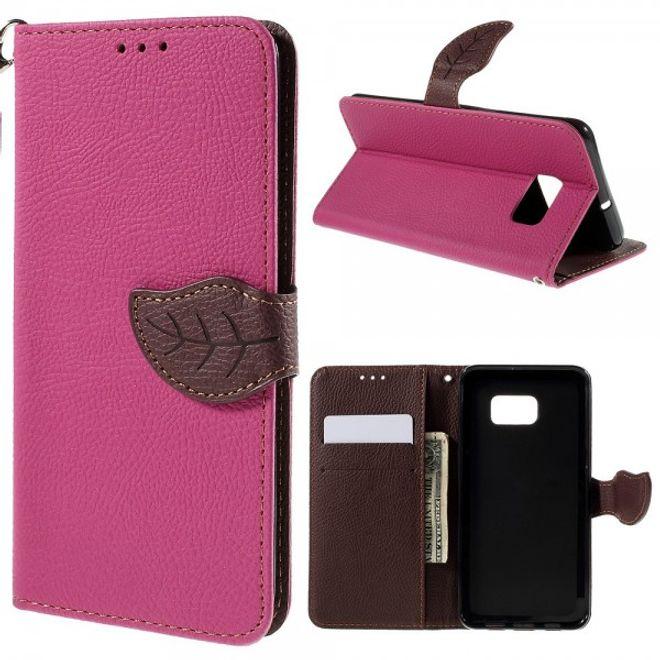 Samsung Galaxy S6 Edge Plus Elegantes Leder Flip Case mit Lederblatt und Standfunktion - rosa