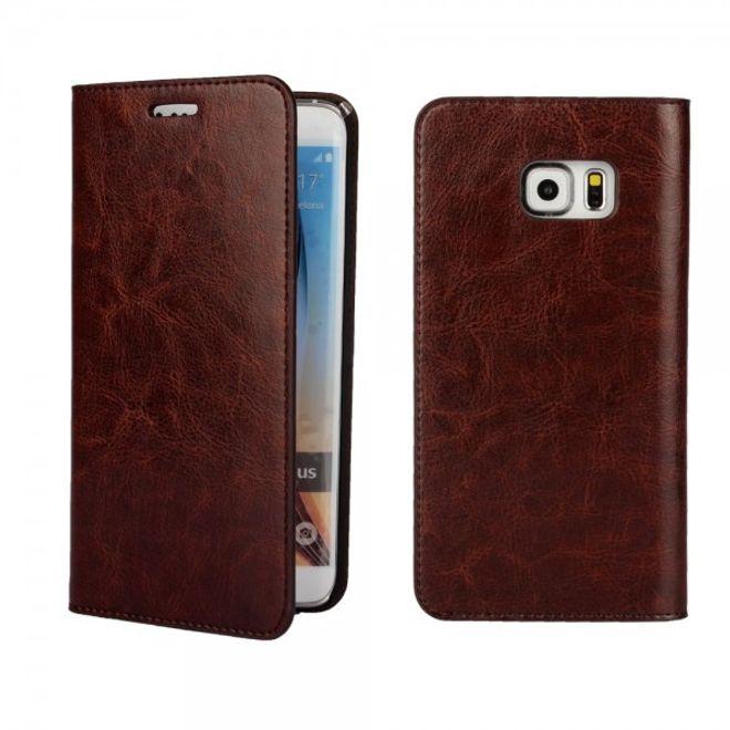Samsung Galaxy S6 Edge Plus Elegantes Crazy Horse Echtleder Case - kaffeefarben
