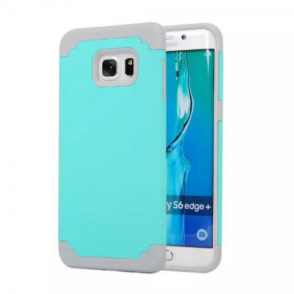 Samsung Galaxy S6 Edge Plus Robustes 2 in 1 Silikon und Hart Plastik Case - blau