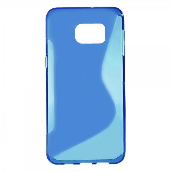 Samsung Galaxy S6 Edge Plus Elastisches Plastik Case S-Shape - blau