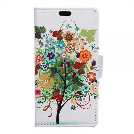 Samsung Galaxy Trend 2 Lite Leder Case mit Baum mit farbigen Früchten