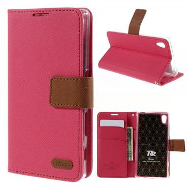 Sony Xperia Z5 Roar Korea Modisches Leder Case mit Standfunktion - rosa