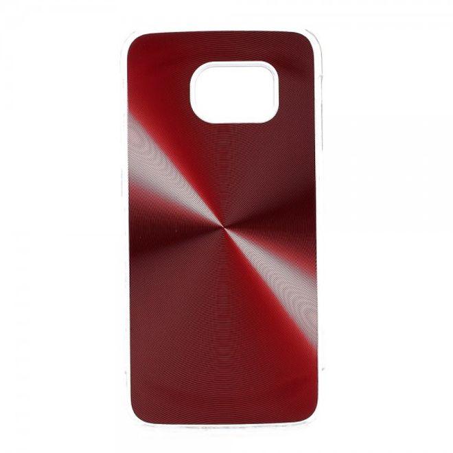 Samsung Galaxy S6 Edge Hart Plastik Case im Metallic Look - rot