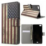 Wiko Highway Pure 4G Leder Case mit USA Flagge retro-style