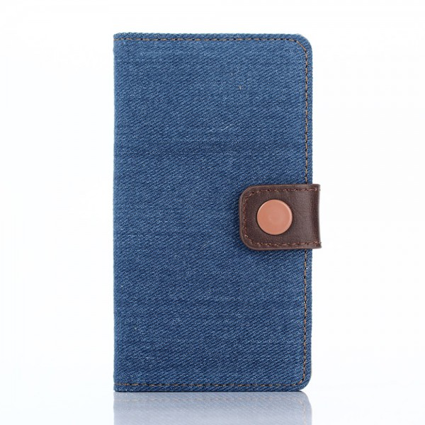 Sony Xperia Z5 Compact Leder Case im Jeans Look mit Standfunktion - dunkelblau