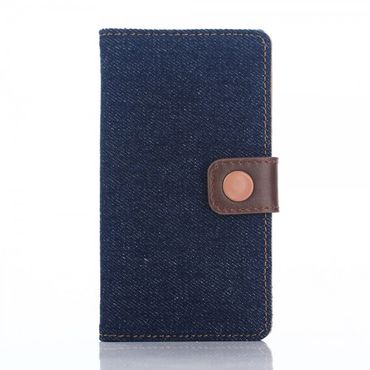 Sony Xperia Z5 Compact Leder Case im Jeans Look mit Standfunktion - schwarzblau