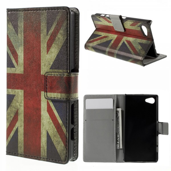 Sony Xperia Z5 Compact Leder Case mit UK Flagge retro-style