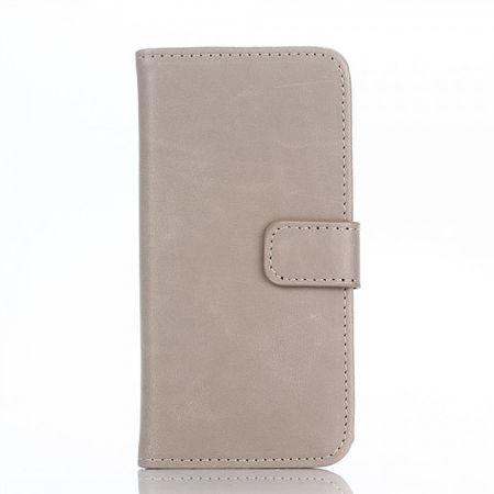 iPod Touch 5/6 Retro Crazy Horse Leder Case mit Standfunktion - grau