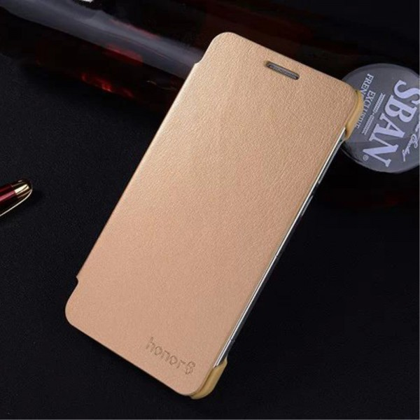 Huawei Honor 6 Dünnes Leder Flip Case - gold
