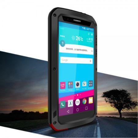 LG G4 LOVE MEI Ultrarobustes Metall, Silikon und gehärtetes Glas Case - schwarz