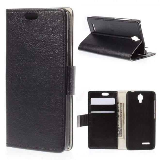 Alcatel One Touch Idol 2 Mini Schickes Leder Case mit Litchitextur und Standfunktion - schwarz
