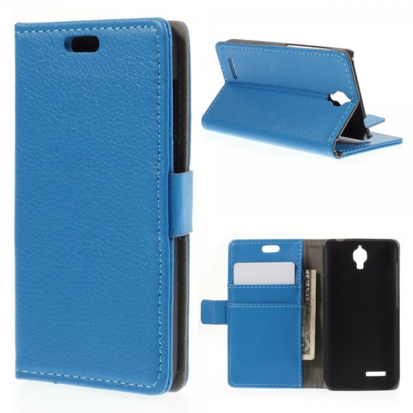 Alcatel One Touch Idol 2 Mini Klassisches Leder Case mit Litchitextur - blau