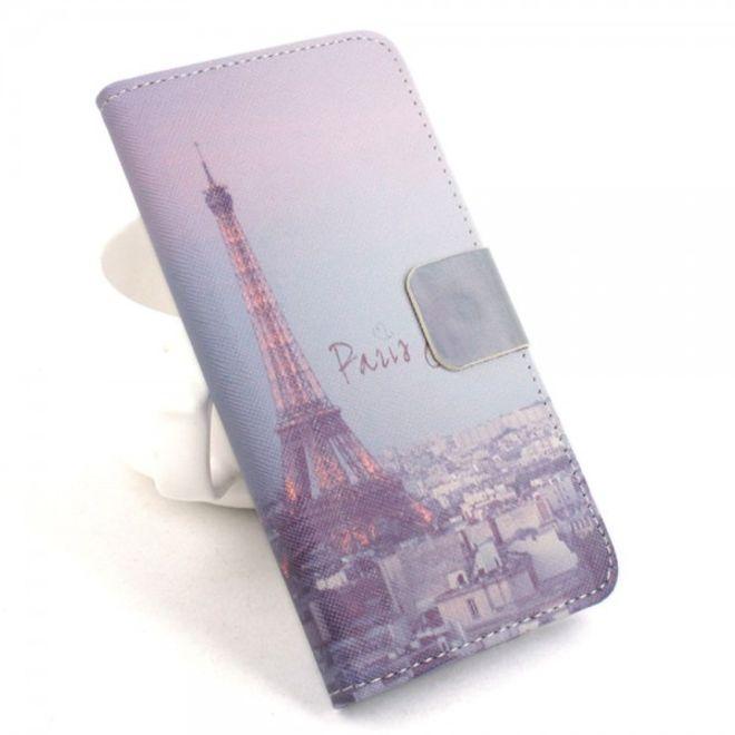 Alcatel One Touch Idol 2 Mini Leder Flip Case mit Eiffelturm