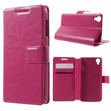 Alcatel One Touch Idol 3 4.7 Klassisches Leder Case mit Standfunktion - rosa