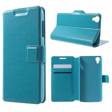 Alcatel One Touch Idol 3 4.7 Klassisches Leder Case mit Standfunktion - blau