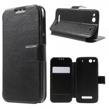 Alcatel One Touch Idol Alpha Crazy Horse Leder Case - schwarz